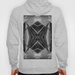 Alien Mothership and Cloudscape in Black and White Hoody