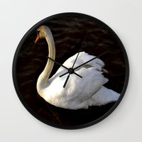 swan Wall Clocks featuring swan by Cindy Munroe Photography