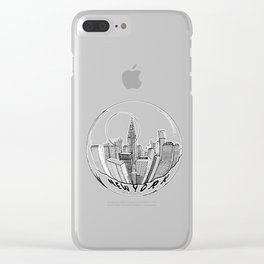the city of New York in a suspended bowl Clear iPhone Case
