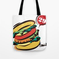 hamburger Tote Bags featuring Hamburger by skyboysv