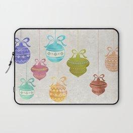 Colorful Watercolor Christmas Ornaments Laptop Sleeve