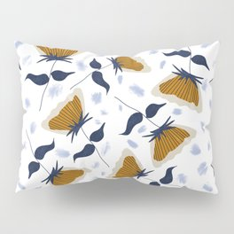 Gold and White Flowers with Blue Pillow Sham