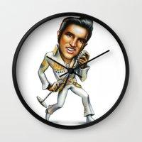 elvis presley Wall Clocks featuring Elvis Presley by sergo