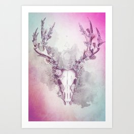 Woodland Stag in Multi Art Print