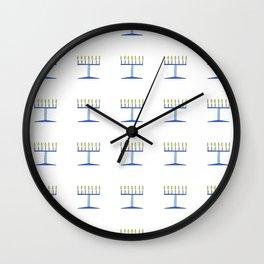 menorah 5,Hanukkah,jewish,jew,judaism,Festival of Lights,Dedication,jerusalem,lampstand,Temple, מְנו Wall Clock