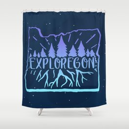 Exploregon (night sky) Shower Curtain