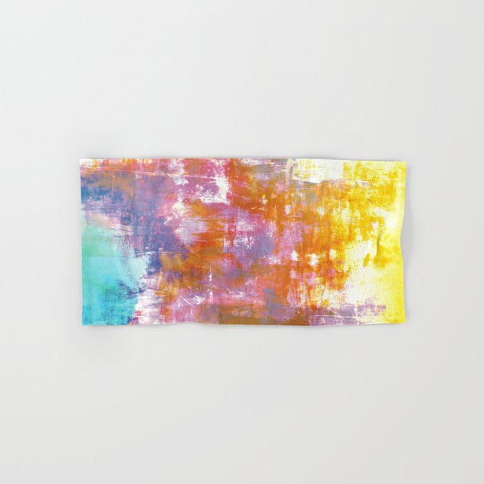OFF THE GRID 3 Colorful Pastel Neon Purple Rust Yellow Abstract Watercolor Acrylic Textural Painting Hand & Bath Towel