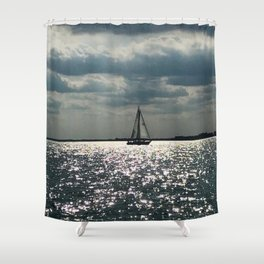 """""""Lake Erie Sailboat"""" photography by Willowcatdesigns Shower Curtain"""