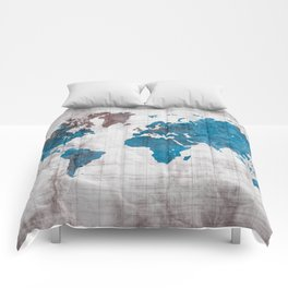 world map 96 blue #worldmap #map Comforters