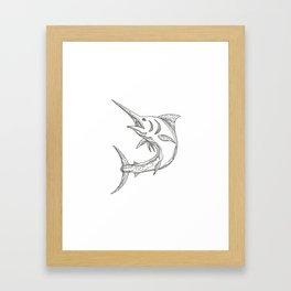 Atlantic Blue Marlin Doodle Framed Art Print