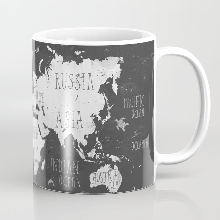 The World Map B/W Coffee Mug