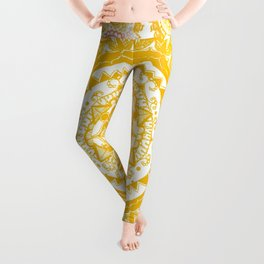 Citrus and Salmon Colored Mandala Textile Leggings