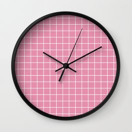 Charm pink - pink color - White Lines Grid Pattern Wall Clock