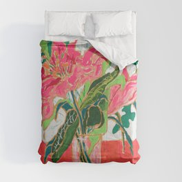 Tropical Lily Bouquet with Matisse Cutout Inspired Background Floral Still Life Painting Comforters