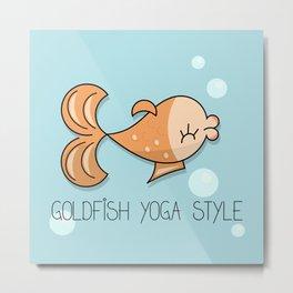 Yoga comic fun draw with goldfish Metal Print