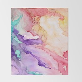 Color My World Watercolor Abstract Painting Throw Blanket