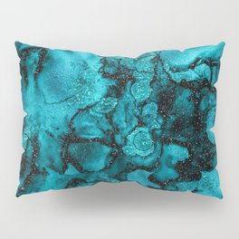 Blue Gemstone and Ink Malachite Glitter Marble Pillow Sham