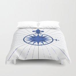 Nautical French Blue Compass Rose Duvet Cover
