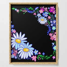 Abstract flowers frame Serving Tray