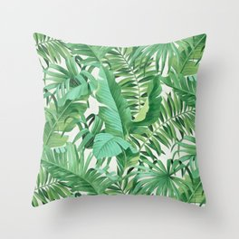 Green tropical leaves III Throw Pillow