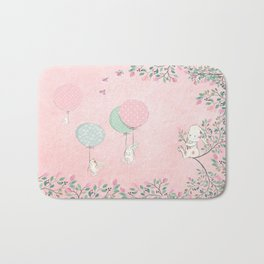 Cute flying Bunny with Balloon and Flower Rabbit Animal on pink floral background Bath Mat