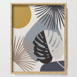 Minimal Yin Yang Monstera Fan Palm Finesse #2 #tropical #decor #art #society6 Serving Tray