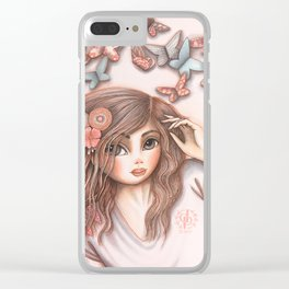 Paper Butterflies with girl Clear iPhone Case