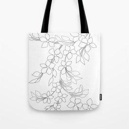 Minimal Wild Roses Line Art Tote Bag