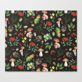 Watercolor Forest Mushrooms, Leaves, Flowers Canvas Print