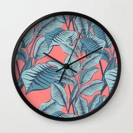 Pink Exotic Tropical Banana Palm Leaf Print Wall Clock