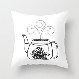 Blossoming Flower Tea Throw Pillow