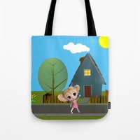 chibi Tote Bags featuring Chibi Girl by ChibiGirl