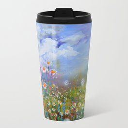 Poppies and White Daisies - Floral Landscape Travel Mug