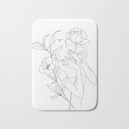 Minimal Line Art Woman with Peonies Bath Mat