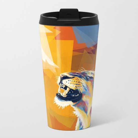 In the Sunlight - Lion portrait Metal Travel Mug