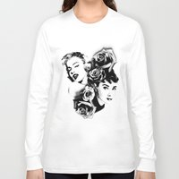 marylin monroe Long Sleeve T-shirts featuring Marylin Monroe and Audrey Hepburn by The Völva Countess