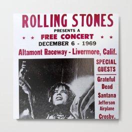 Vintage Rolling Stones free concert at Altamont Raceway, Livermore, California, December 6, 1969 Metal Print