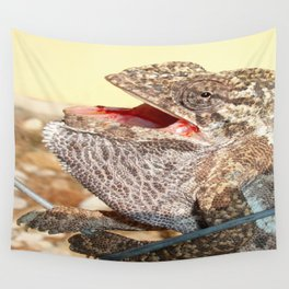 A Chameleon With Open Mouth Wall Tapestry