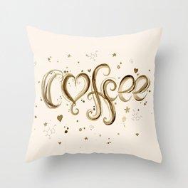 Coffee Molecules Caffeine Throw Pillow