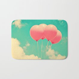Balloons in the sky (pink ballons in retro blue sky) Bath Mat