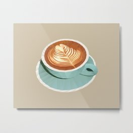 Coffee with Latte Art Polygon Art Metal Print