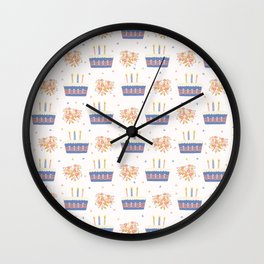 Hand drawn  lit candles on birthday cake with flower bouquet Wall Clock