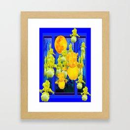 Surreal Golden Iris Garden Moon Blue Abstract Framed Art Print