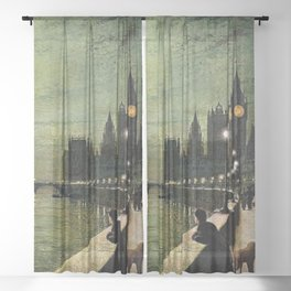 Reflections on the Thames River, London by John Atkinson Grimshaw Sheer Curtain
