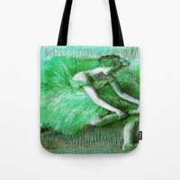 degas Tote Bags featuring Green Tutu Ballerina by PureVintageLove