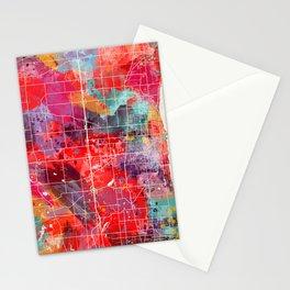 Kenosha map Wisconsin painting 2 Stationery Cards