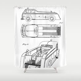 Fire Truck Patent - Fireman Art - Black And White Shower Curtain