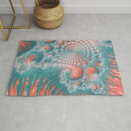 Abstract Coral Reef Living Coral Pastel Teal Blue Texture Spiral Swirl Pattern Fractal Fine Art Rug