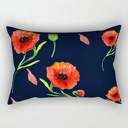Red Poppies Field Rectangular Pillow