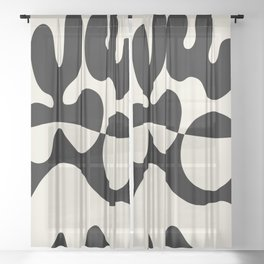 Mid Century Modern Organic Abstraction 235 Black and Linen Sheer Curtain